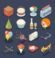 fun birthday party event celebrate night icons and vector image