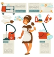 housemaid and cleaning supplies vector image