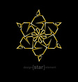 Abstract gold flower on black background vector image vector image