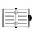 address book open symbol in black and white vector image vector image