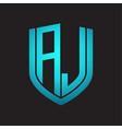 aj logo monogram with emblem shield design