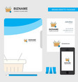 basket business logo file cover visiting card and vector image vector image