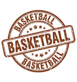 basketball brown grunge round vintage rubber stamp vector image vector image