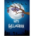 Bats hanging from tree with full moon vector image