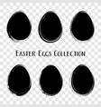 black easter eggs brush stroke style vector image