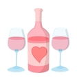 Bottle of wine with two wine glasses vector image