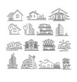 buildings or real estate isolated outline icons vector image vector image