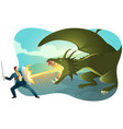 businessman fighting a dragon vector image vector image