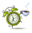 cartoon green alarm clock with cup of coffee vector image