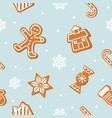christmas seamless background gingerbread man vector image vector image