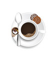 coffee with two cookies and cream set vector image