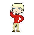 comic cartoon boy with question vector image vector image