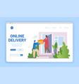 courier delivers parcel vector image