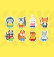 cute baanimals stickers collection hedgehog vector image vector image