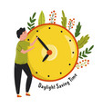 daylight saving time abstract design with a man vector image vector image