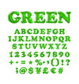 english alphabet and numerals from green balloons vector image vector image