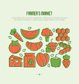 farmers market concept with thin line icons vector image vector image