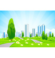 Green landscape with Trees City Roads vector image vector image