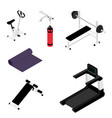 gym bench with barbell gym bike treadmill and vector image vector image
