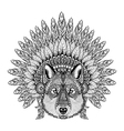 hand drawn entangle wolf in feathered war bonnet vector image