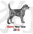 handdrawn dog with ornate pattern in black and vector image