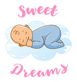 happy baby sleeping on the blue cloud cartoon vector image