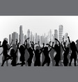 happy dancing women silhouettes on city background vector image