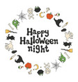happy halloween night halloween frame handdrawn vector image vector image