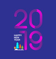 happy new year 2019 text design with modern vector image vector image