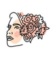 isolated abstract female head with flowers in hair vector image