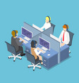 isometric business people working with headset in vector image