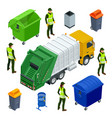 isometric garbage truck or recycle truck in city vector image vector image