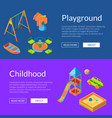 isometric playground web banners vector image vector image