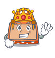 king hand bag mascot cartoon vector image vector image