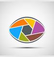 logo human eye in form lens vector image