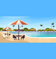 luxury hotel swimming pool resort with umbrellas vector image