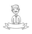 man avatar cartoon character black and white vector image vector image