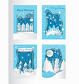 merry christmas greeting cards mountains and city vector image vector image