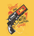 modern t shirt graphic with gun and music cassette vector image