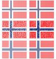 Mosaic Norway flag set vector image vector image