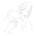 Mother and newborn sketch vector image vector image