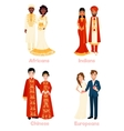 Multicultural Wedding Couples vector image vector image