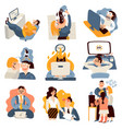 office work funny icons set vector image vector image