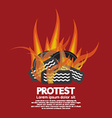 protest by tires burned vector image vector image