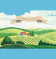 rural summer landscape with hills and village vector image vector image