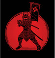 samurai warrior with weapon ready to fight action vector image vector image