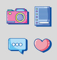 set mobile app to digital communication vector image