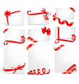 Set of beautiful cards with red gift bows vector image vector image
