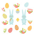 set of bright elements for easter includes vector image vector image