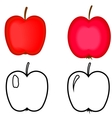 set red apples apples for coloring book vector image vector image
